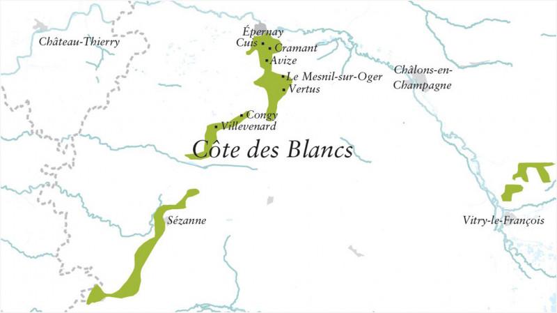 Karte Côte des Blancs