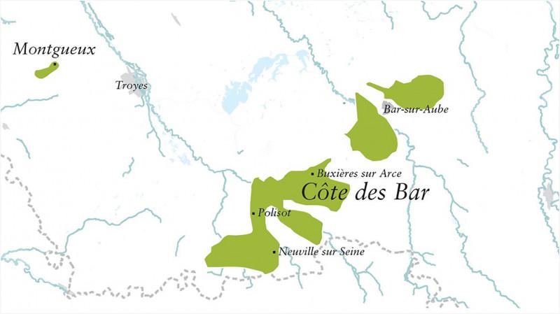 Karte Côte des Bar